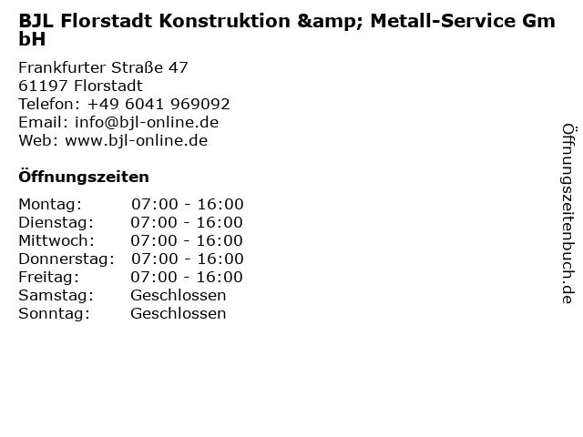 BJL Florstadt Konstruktion & Metall-Service GmbH in Florstadt: Adresse und Öffnungszeiten