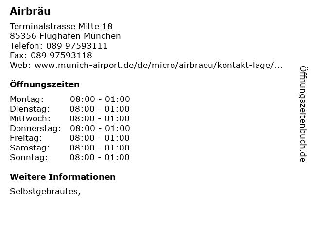 Airbräu in Flughafen München: Adresse und Öffnungszeiten