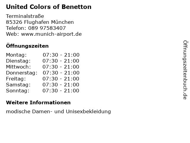 United Colors of Benetton in Flughafen München: Adresse und Öffnungszeiten
