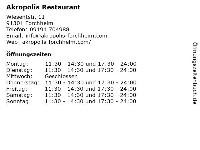 Akropolis Restaurant in Forchheim: Adresse und Öffnungszeiten
