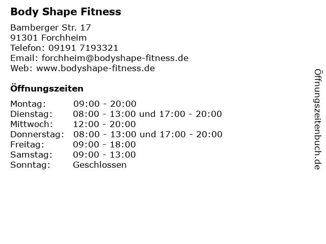 Body Shape Fitness in Forchheim: Adresse und Öffnungszeiten