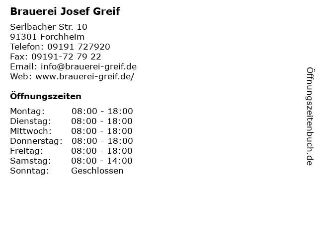 Brauerei Josef Greif in Forchheim: Adresse und Öffnungszeiten