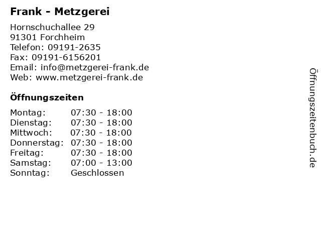 Frank - Metzgerei in Forchheim: Adresse und Öffnungszeiten