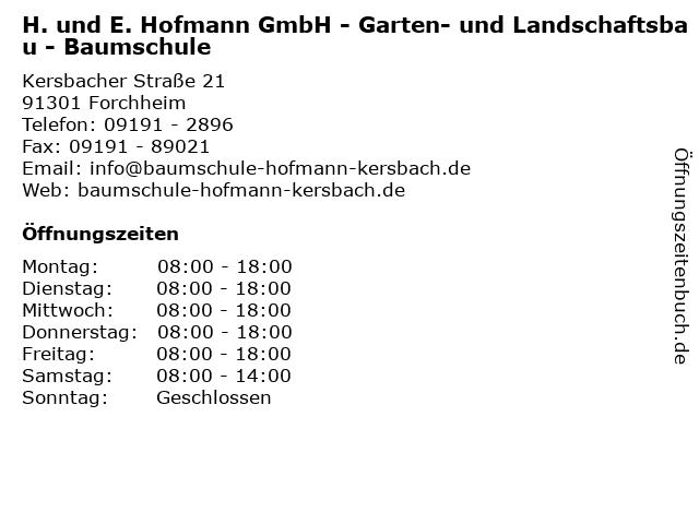 H. und E. Hofmann GmbH - Garten- und Landschaftsbau - Baumschule in Forchheim: Adresse und Öffnungszeiten