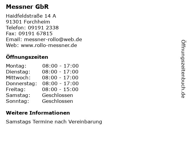 Helmut Weber und Willibald Müller Messner GbR in Forchheim: Adresse und Öffnungszeiten