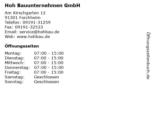 Hoh Bauunternehmen GmbH in Forchheim: Adresse und Öffnungszeiten