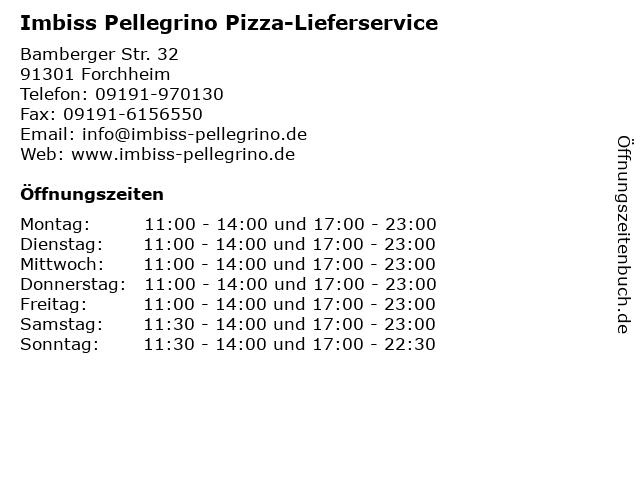 Imbiss Pellegrino Pizza-Lieferservice in Forchheim: Adresse und Öffnungszeiten