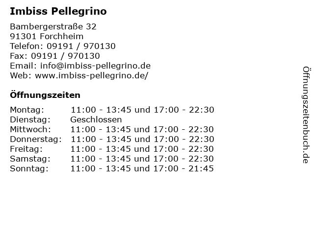 Imbiss Pellegrino in Forchheim: Adresse und Öffnungszeiten