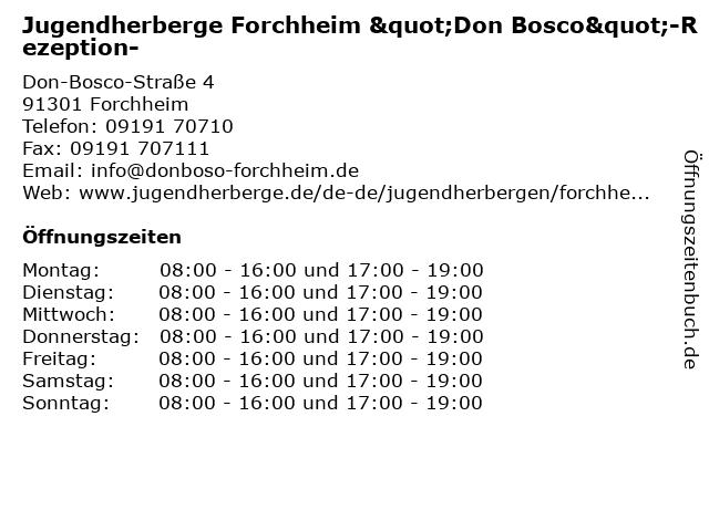 """Jugendherberge Forchheim """"Don Bosco""""-Rezeption- in Forchheim: Adresse und Öffnungszeiten"""