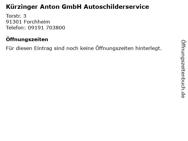 Kürzinger Anton GmbH Autoschilderservice in Forchheim: Adresse und Öffnungszeiten