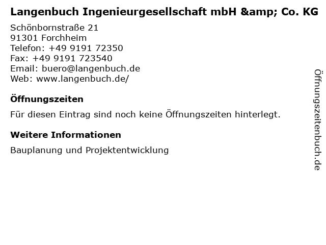 Langenbuch Ingenieurgesellschaft mbH & Co. KG in Forchheim: Adresse und Öffnungszeiten