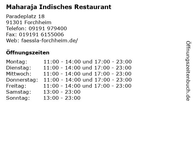 Maharaja Indisches Restaurant in Forchheim: Adresse und Öffnungszeiten