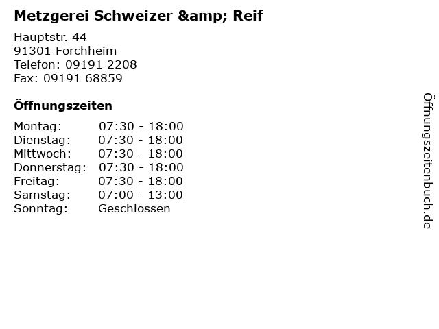Metzgerei Schweizer & Reif in Forchheim: Adresse und Öffnungszeiten