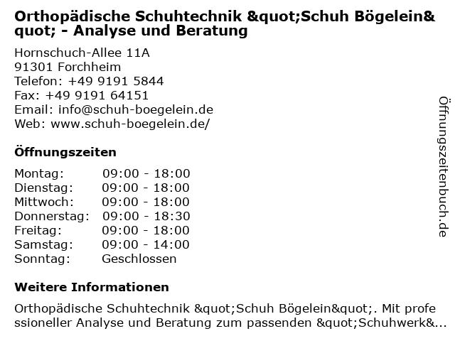 """Orthopädische Schuhtechnik """"Schuh Bögelein"""" - Analyse und Beratung in Forchheim: Adresse und Öffnungszeiten"""