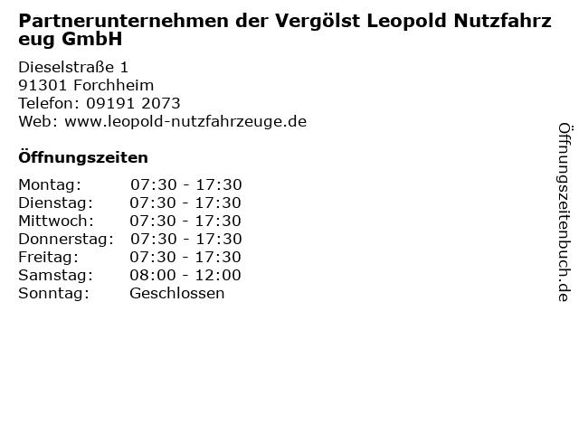 Partnerunternehmen der Vergölst Leopold Nutzfahrzeug GmbH in Forchheim: Adresse und Öffnungszeiten