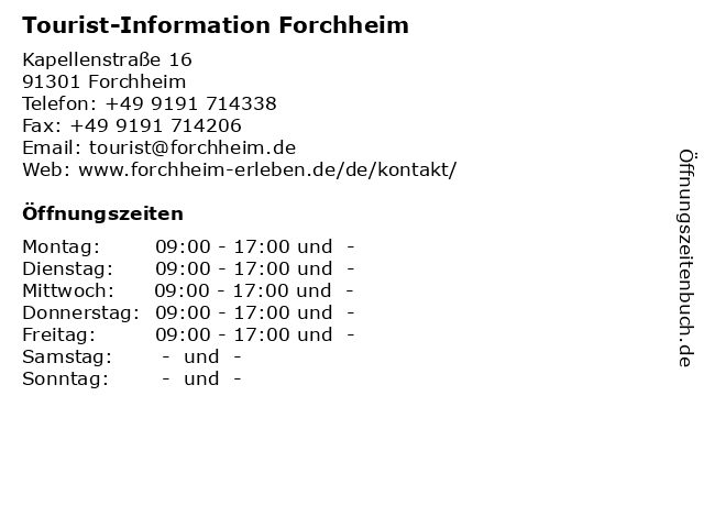 Tourist-Information Forchheim in Forchheim: Adresse und Öffnungszeiten