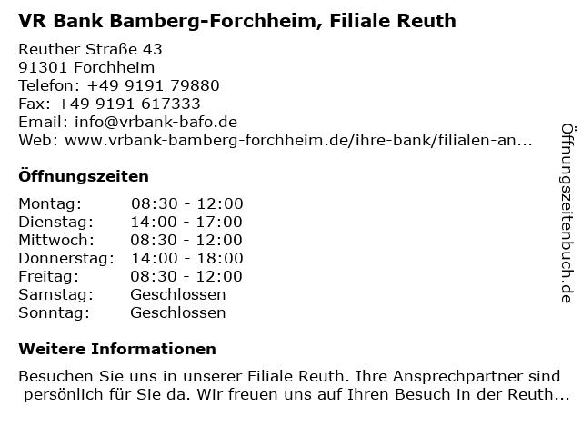 Volksbank Forchheim, Filiale Reuth in Forchheim: Adresse und Öffnungszeiten