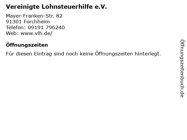 Vereinigte Lohnsteuerhilfe e.V. in Forchheim: Adresse und Öffnungszeiten