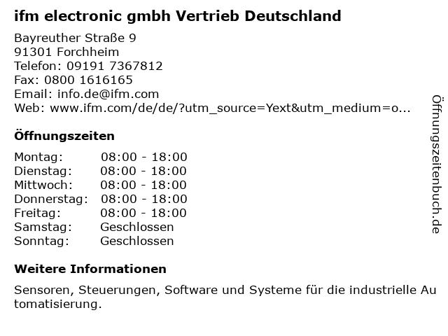 ifm electronic gmbh Vertrieb Deutschland in Forchheim: Adresse und Öffnungszeiten