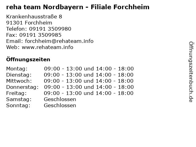reha team Nordbayern - Filiale Forchheim in Forchheim: Adresse und Öffnungszeiten