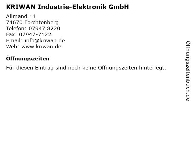 KRIWAN Industrie-Elektronik GmbH in Forchtenberg: Adresse und Öffnungszeiten