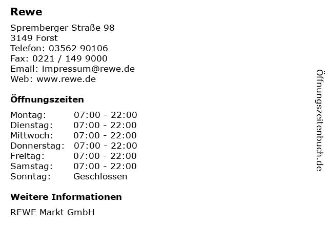 REWE Markt GmbH in Forst: Adresse und Öffnungszeiten