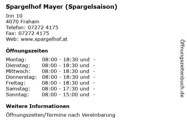 Spargelhof Mayer (Spargelsaison) in Fraham: Adresse und Öffnungszeiten