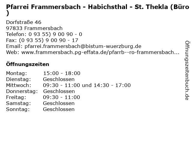 Pfarrei Frammersbach - Habichsthal - St. Thekla (Büro) in Frammersbach: Adresse und Öffnungszeiten