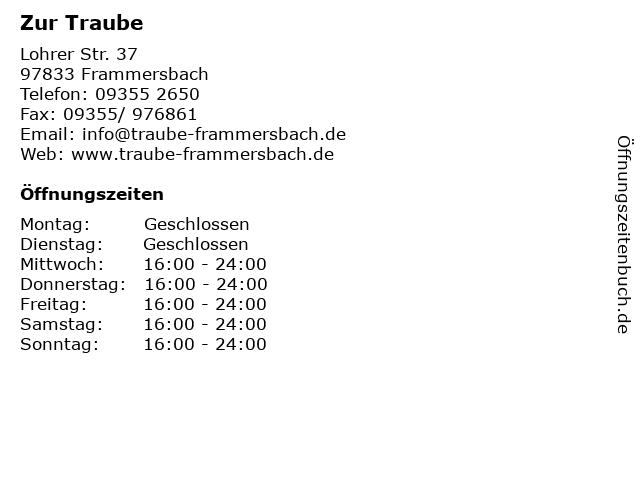 Zur Traube in Frammersbach: Adresse und Öffnungszeiten