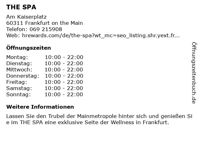 Steigenberger Frankfurter Hof | The Spa in Franfurt: Adresse und Öffnungszeiten