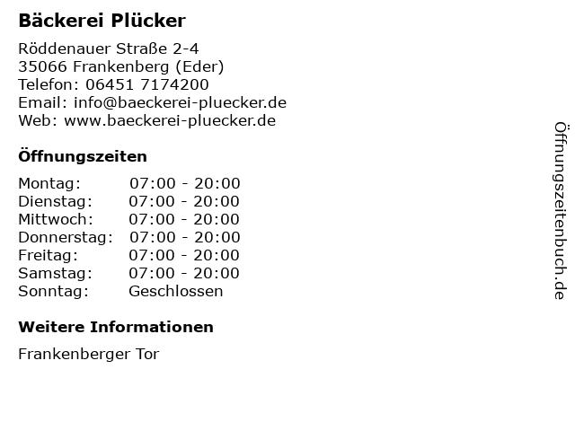 Bäckerei Plücker GmbH & Co. KG in Frankenberg (Eder): Adresse und Öffnungszeiten