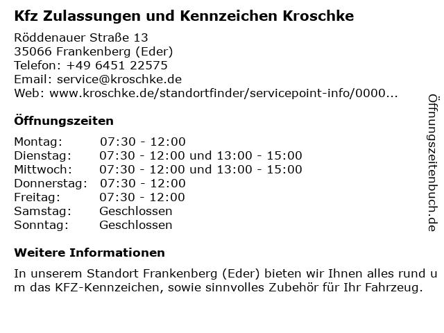 Kfz Zulassungen und Kennzeichen Kroschke in Frankenberg (Eder): Adresse und Öffnungszeiten