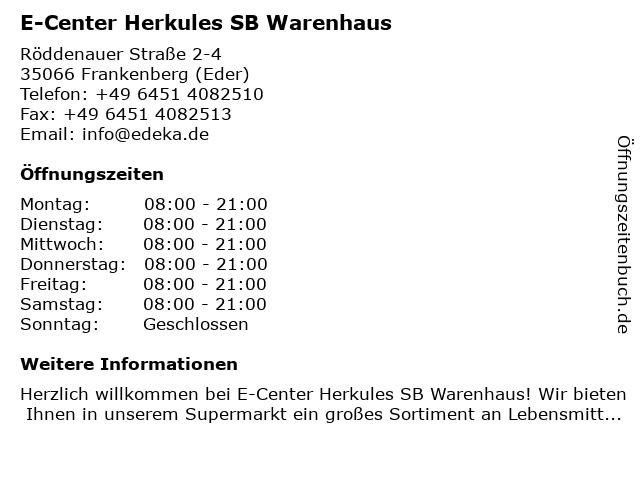 E-Center Herkules SB Warenhaus in Frankenberg (Eder): Adresse und Öffnungszeiten