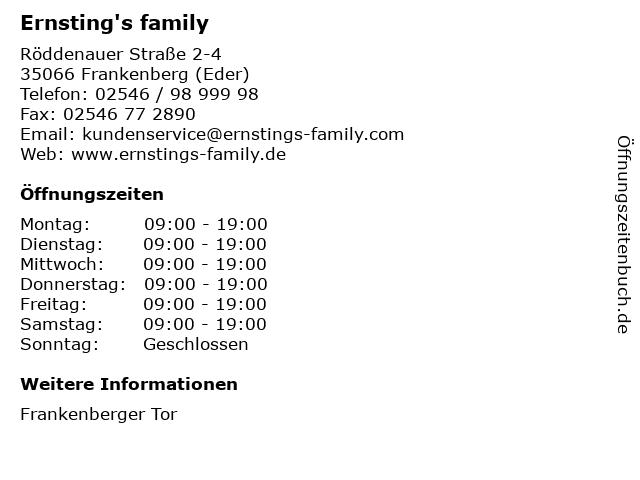 Ernsting's family GmbH & Co. KG in Frankenberg (Eder): Adresse und Öffnungszeiten