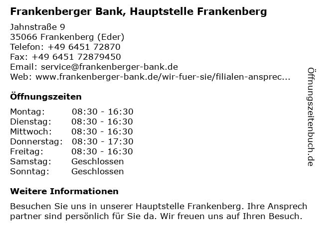 Frankenberger Bank, Hauptstelle Frankenberg in Frankenberg (Eder): Adresse und Öffnungszeiten