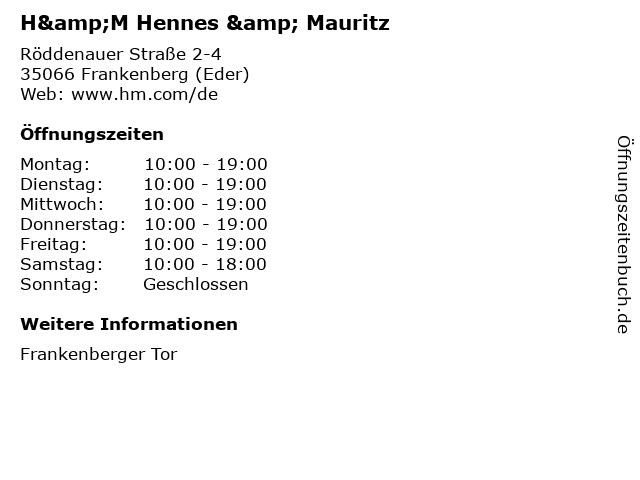 H&M Hennes & Mauritz in Frankenberg (Eder): Adresse und Öffnungszeiten