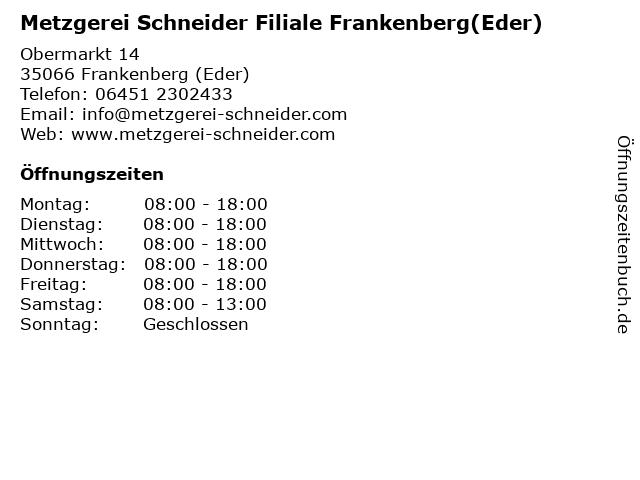 Metzgerei Schneider Filiale Frankenberg(Eder) in Frankenberg (Eder): Adresse und Öffnungszeiten