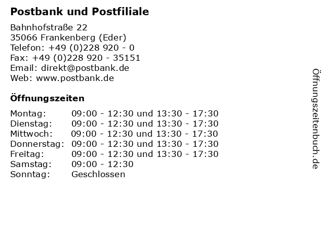 Postbank und Postfiliale in Frankenberg (Eder): Adresse und Öffnungszeiten
