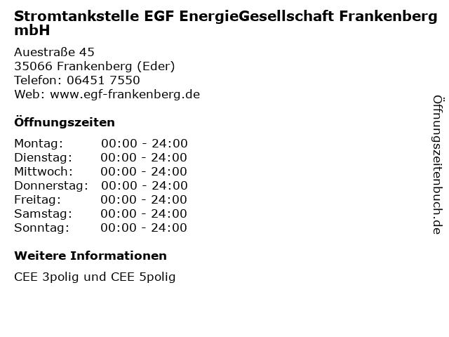 Stromtankstelle EGF EnergieGesellschaft Frankenberg mbH in Frankenberg (Eder): Adresse und Öffnungszeiten