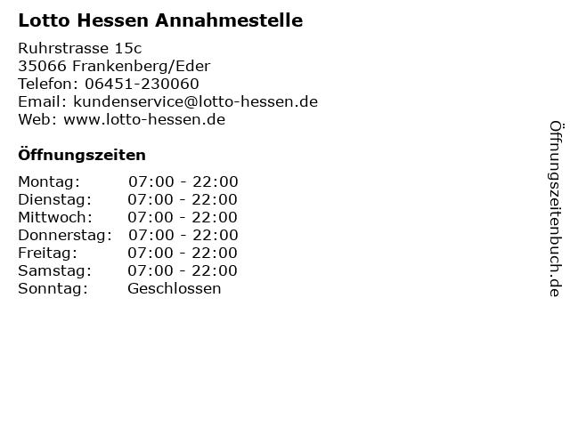 Lotto Hessen Annahmestelle in Frankenberg/Eder: Adresse und Öffnungszeiten