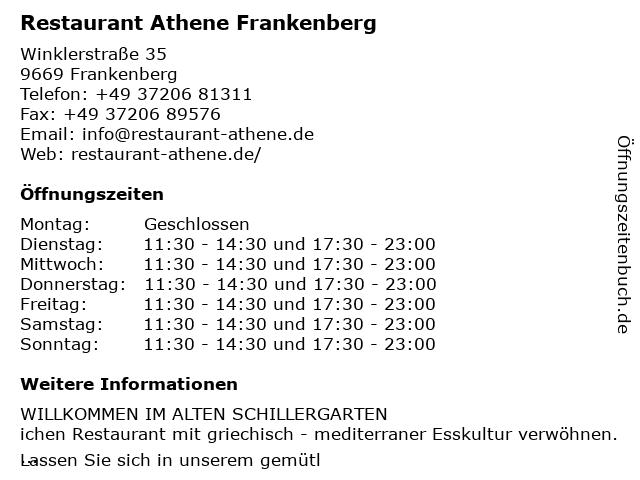 Restaurant Athene Frankenberg in Frankenberg/Sa.: Adresse und Öffnungszeiten