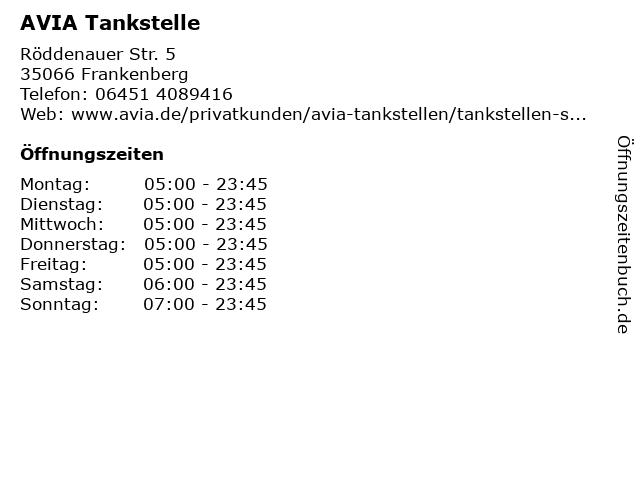 AVIA Tankstelle in Frankenberg: Adresse und Öffnungszeiten
