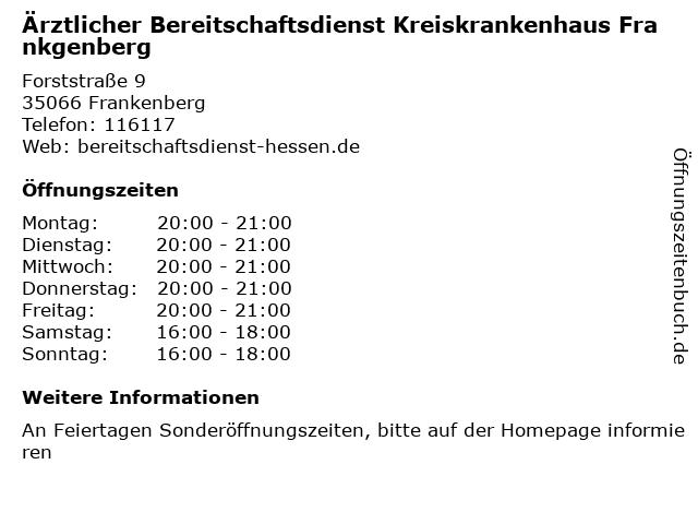 Ärztlicher Bereitschaftsdienst Kreiskrankenhaus Frankgenberg in Frankenberg: Adresse und Öffnungszeiten