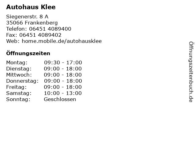 Autohaus Alfred Klee in Frankenberg: Adresse und Öffnungszeiten