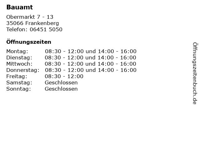 Bauamt in Frankenberg: Adresse und Öffnungszeiten