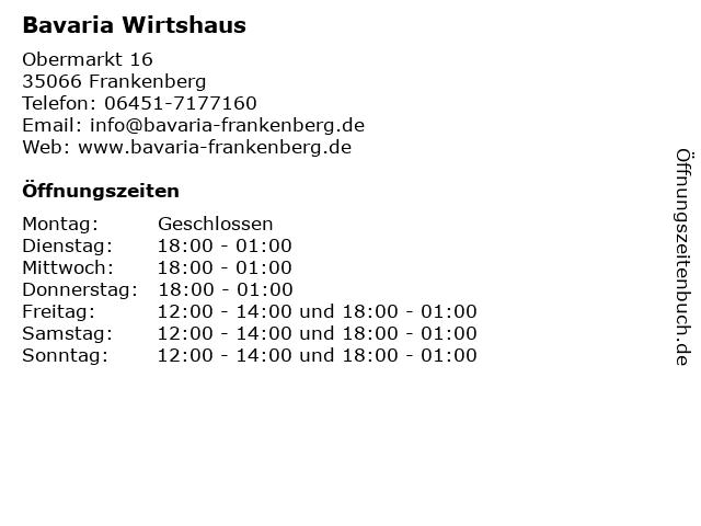 Bavaria Wirtshaus in Frankenberg: Adresse und Öffnungszeiten
