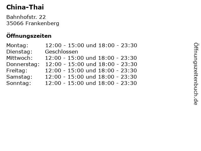 China-Thai in Frankenberg: Adresse und Öffnungszeiten
