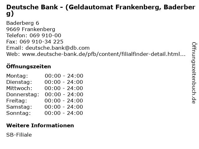 Deutsche Bank - (Geldautomat Frankenberg, Baderberg) in Frankenberg: Adresse und Öffnungszeiten