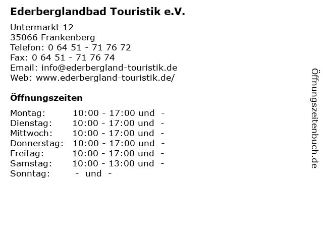 Ederberglandbad Touristik e.V. in Frankenberg: Adresse und Öffnungszeiten