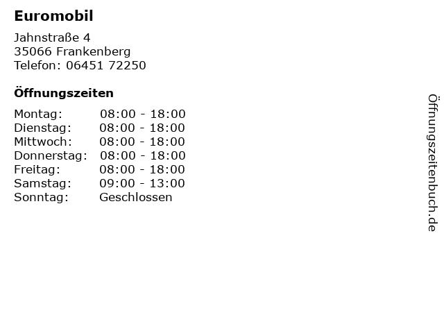 Euromobil in Frankenberg: Adresse und Öffnungszeiten